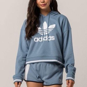 ADIDAS Active Icons Slate Blue Womens Crop Hoodie